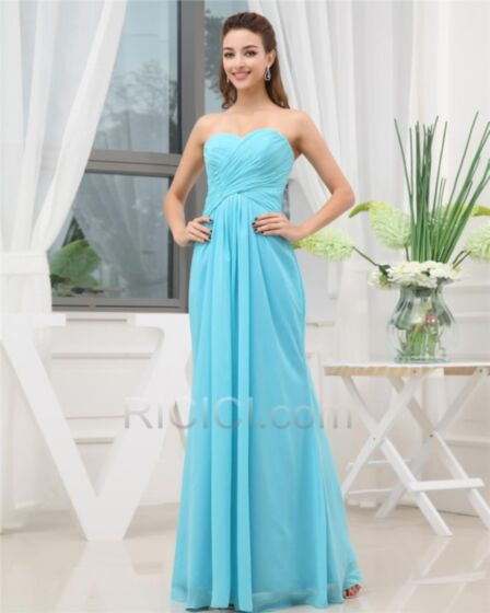 Simpele Empire Strapless Plooi Chiffon Blauwe Open Rug Bruidsmeisjes Jurken Jurken Voor Bruiloft Lange