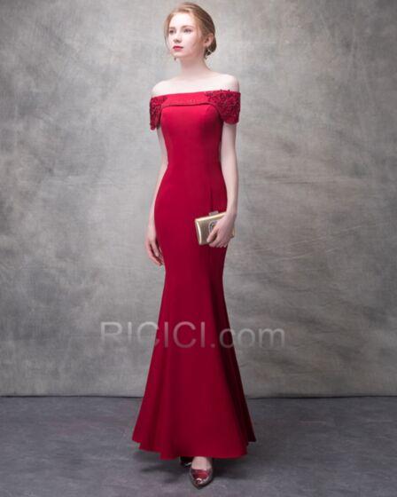 Avondjurk Open Rug Charmeuse Off Shoulder Applique Lange Elegante Rode Mouwloze Koker