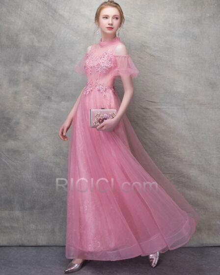 Bruidsmeisjes Jurk Open Rug A Lijn Lange Chiffon Applique Korte Mouw Roze
