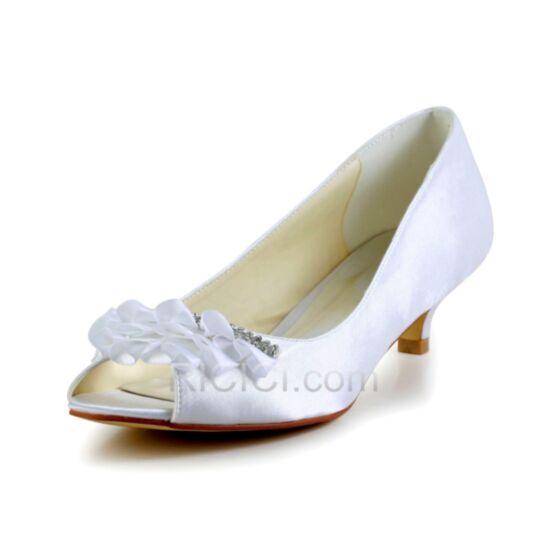 Stiletto Pumps Witte Bruidsschoenen Peep Toe Satijnen 2 inch Bruidsmeiden Jurken