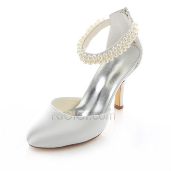 Stiletto 9 cm Bruidsmeiden Jurken Witte Runtige Neus Satijnen High Heels Sandalen