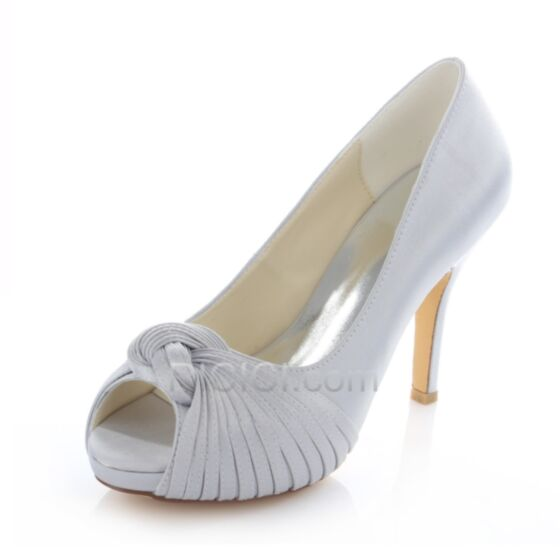 Pumps Bruidsmeisjes Jurk High Heels Satijnen Trouwschoenen Peep Toe 10 cm / 4 inch
