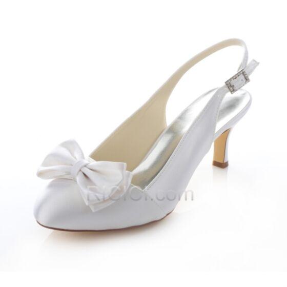 Stiletto Runtige Neus Bruidsmeisjes Jurk 6 cm Bruidsschoenen Satijnen Pumps Witte