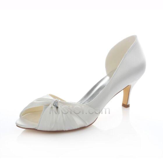 Stiletto Bruidsschoenen Middelhoge Hakken Sandalen Witte Peep Toe Satijnen