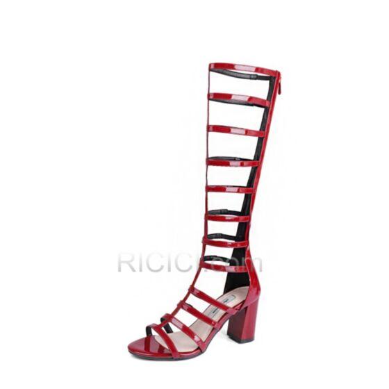 Middelhoge Hakken Sexy 7 cm Rode Blokhakken Damesschoenen Gladiator Lak Sandalen Knie Hoge Laarzen Leren