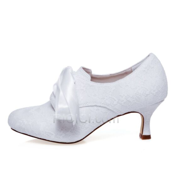 Middelhoge Hakken Hakken Trouwschoenen Satijnen Stiletto Bruidsmeisjes Schoenen Kanten Laarzen Witte Runtige Neus
