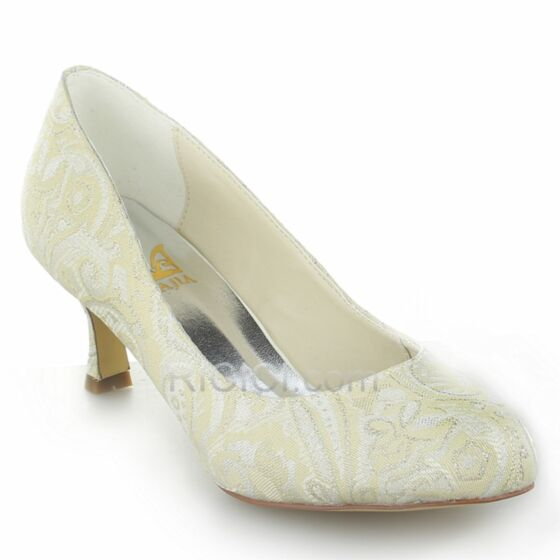 Bruidsschoenen Kanten Pumps Middelhoge Hakken Witte Bruidsmeisjes Schoenen