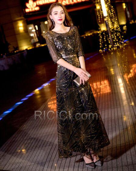 Empire Abendkleid Lange Ballkleider Pailletten Gürtel