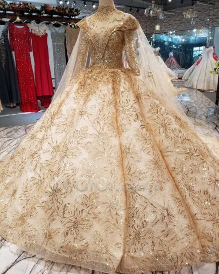 Rückenausschnitt Glitzer Applikationen Spitzen Tiefer Ausschnitt Petticoatkleid Pailletten Brautkleid Lange Herrlich Glitzernden Gold