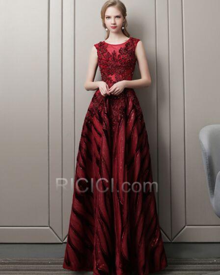 Abendkleid Elegante Festliche Kleider Rückenausschnitt Rundhalsausschnitt A Linie Tüll Perlen Pailletten Lange Burgunderrot