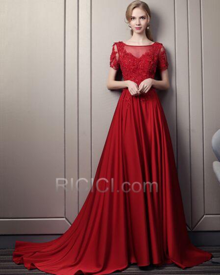 Elegante Prinzessin Spitzen Mit Schleppe Transparentes Abendkleider Ballkleid Rot Satin Rückenfreies Sommer Lange