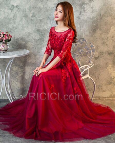 Abendkleid Tüll Elegante Applikationen A Linie Halbe Ärmel Spitzen Lange Burgunderrot Rückenfreies Festliche Kleider