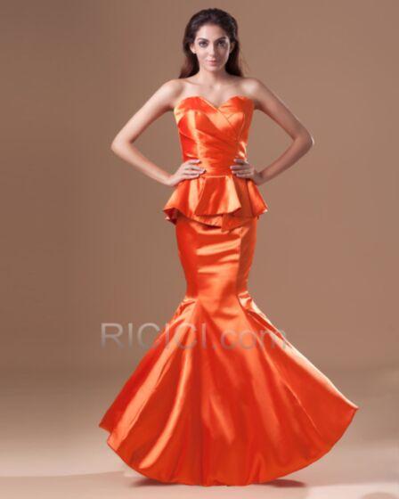 Rückenfreies Abendkleider Lange Tragerloses Etui Elegante Schößchen Sommer Orange Hochzeitsgäste Kleider Meerjungfrau