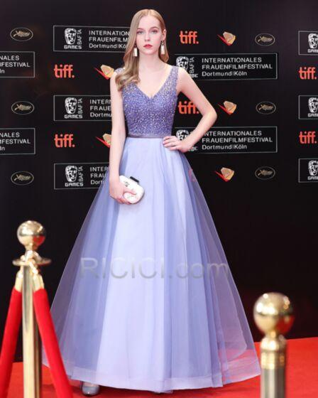 Festliche Kleider Glitzernden Perlen Lange Lavendel Ballkleider Pailletten Petticoatkleid Rückenausschnitt