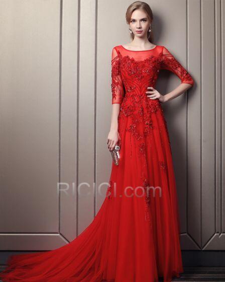 Rot Luxus Lange Rückenfreies Schönes A Linie Abendkleid Halbe Ärmel Perlen Tüll