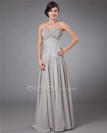 Lange Brautmutter Abendkleider Für Festliche Bandeau Plissee Empire Chiffon