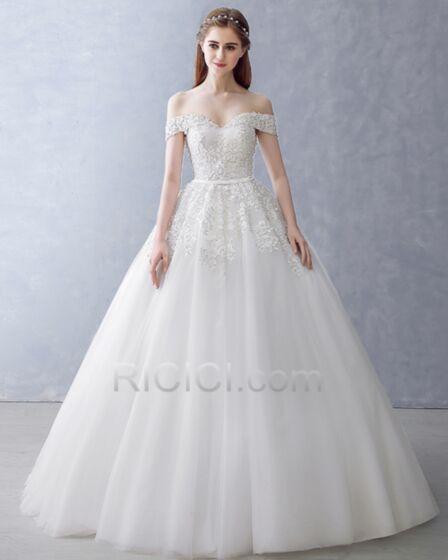 Weiß A Linie / Prinzessin Lange Elegante Herz Ausschnitt Schulterfreies Kurzarm Frühlings Tüll Hochzeitskleider Applikationen Rückenfreies