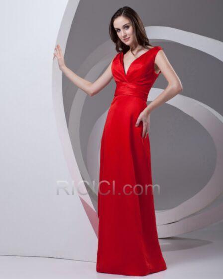 Empire Tiefer Ausschnitt Lange Elegante Satin Volant Gürtel Festliche Abendkleider Rot