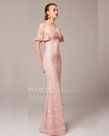 Spitzen Satin Brautmutter Abend Hochzeitsgäste Festliche Kleider Elegante Modest Luxus A Linie Kurzarm Pink Stickerei Strasssteine Cut Out Hochgeschlossene