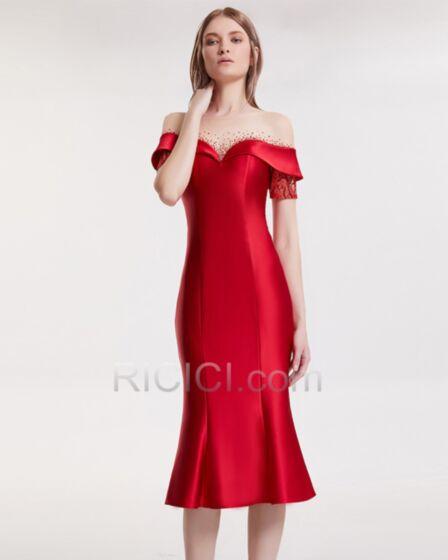 Abend Weihnachts Gala Kleider Für Festliche Mit Pailletten / Glanz Rückenfreies Satin Meerjungfrau Sexy Wadenlang Kurzarm Rot