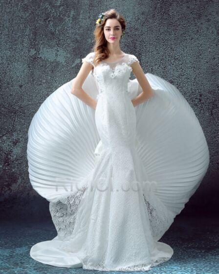 Lange Mit Schleppe Brautkleid Kurzarm Frühlings Sommer Schleife Elegante Etui Meerjungfrau Herz Ausschnitt Spitzen Satin Tüll
