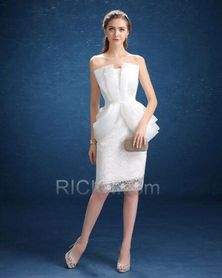 Weiß Kurze Sommer Tüll Spitzen Bandeau Brautkleid Etui Mit Spitze Volant Elegante Schlichte