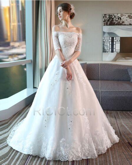 Tüll Spitzen Lange Mit Schleppe A Linie / Prinzessinen Rückenfreies Weiß Halbe Hülse Hochzeitskleider Luxus Elegante