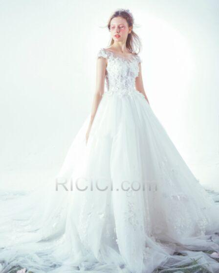 Luxus Elegante V Ausschnitt Weiß Strand Prinzessinen Mit Schleppe Lange Brautkleider Spitzen Tüll Mit Spitze Rückenfreies