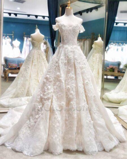 Lange Mit Schleppe Ballon Ärmellos Weiß Spitzen Rückenfreies Hochzeitskleider Winter Luxus