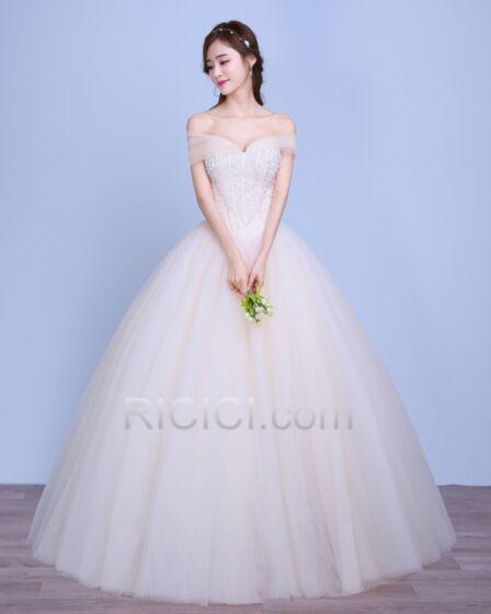 Ärmellos Mit Pailletten / Glanz Rückenfreies Brautkleider Luxus Elegante Herz Ausschnitt Lange Ballon Ivory / Beige