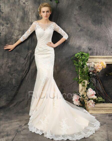 Elegante Meerjungfrau Brautkleid Tüll Spitzen Rückenfreies Rückenausschnitt Ivory / Beige Halbe Hülse