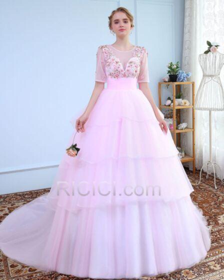 Ball Gown Tüll Quinceanera Ballkleider Applikationen Rückenfreies Stickerei Elegante Luxus Halbe Ärmel Pink Rückenausschnitt Lange Mit Schleppe