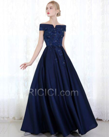 Brautjungfern Abendkleider Marineblau Applikationen Spitzen Satin Empire Elegante