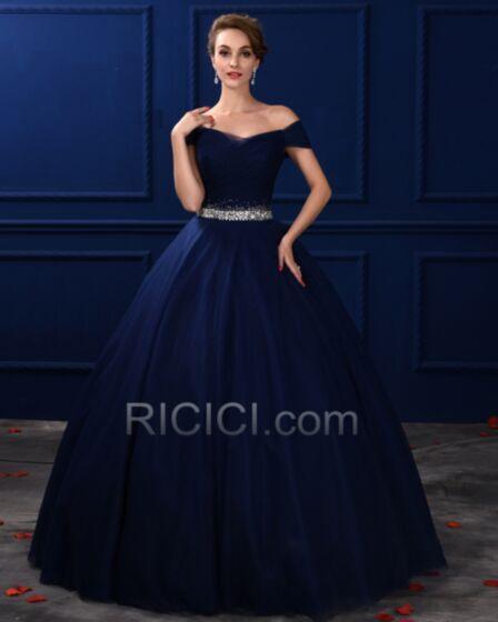 Schlichte Vintage Tüll Marineblau Ball Gown Trägerloses Rückenfreies Quinceanera Ball Kleider Für Festliche Lange