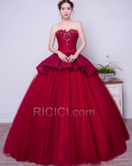 Bandeau Herz Ausschnitt Ärmellos Perlen Schößchen Tüll Spitzen Ball Gown Lange Quinceanera Ball Kleider Elegante Vintage