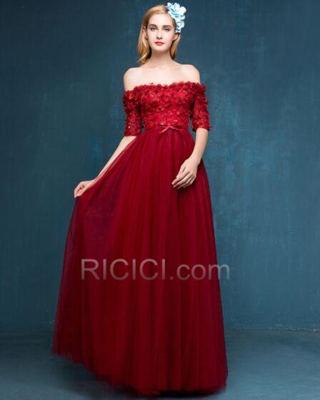 Brautjungfernkleider Fit N Flare Applikationen Abendkleid Elegante Partykleider Schulterfreies Tragerloses Rückenfreies