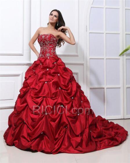 Lange Rot Tragerloses Taft Quinceanera Kleider Elegante Ballkleid Hochzeitskleider