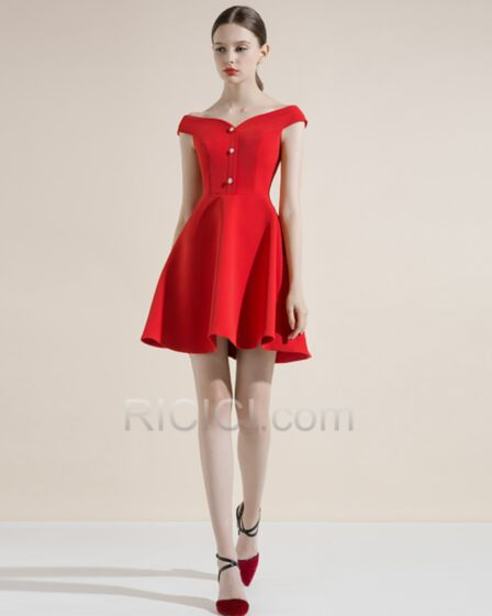 Tiefer Ausschnitt Schulterfreies Elegante Rot Kleider Hochzeitsgäste 2018 Ärmellos Kurze Cocktailkleider Frühlings