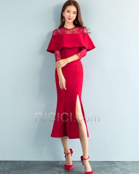 Bleistift Partykleider Knöchellänge Rüschen Kleider Hochzeitsgäste Elegante Spitzen Rot Rundhalsausschnitt Satin