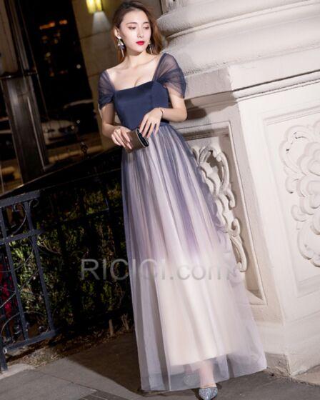 Abendkleider Elegante Rückenausschnitt Blockfarben Lange Schlichte