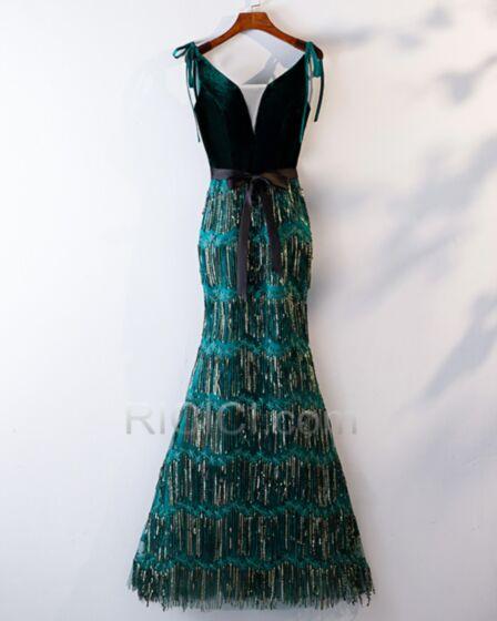 Meerjungfrau Abendkleider Mit Fransen Samt Galakleider Pailletten Glitzernden Tiefer Ausschnitt