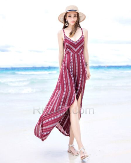 Boho Kleider Strandkleider Lange Trägerkleid Chiffon Tiefer Ausschnitt Sexy Burgunderrot Sommer Rückenausschnitt Blumenkleid