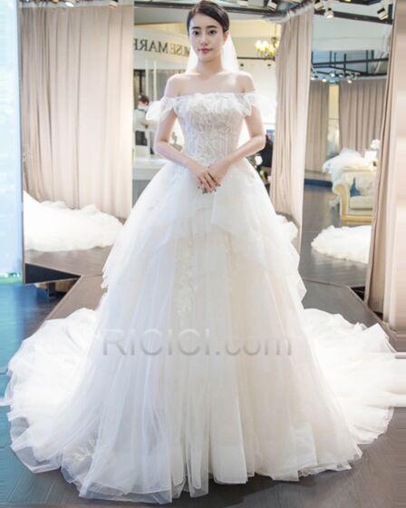 Lange Schößchen Elegante Schulterfreies Weiß Petticoatkleid Brautkleid