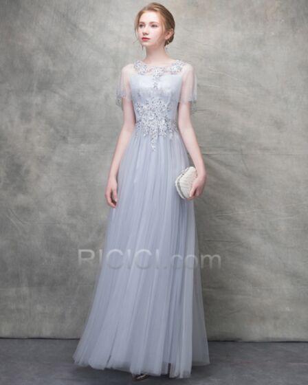 Silber Abendkleid Spaghettiträger Elegante Tüll Brautjungfernkleid Lange Kurzarm