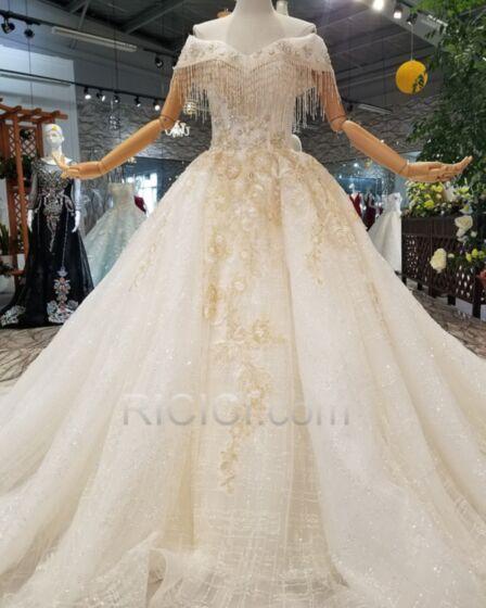 Rückenausschnitt Prinzessin Glitzernden Perlen Lange Schulterfreies Spitzen Glitzer Elegante Brautkleider Mit Schleppe