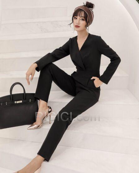 Polyester businesskleider Modest Wickel Schwarz Lange Casual Kleid Jumpsuit