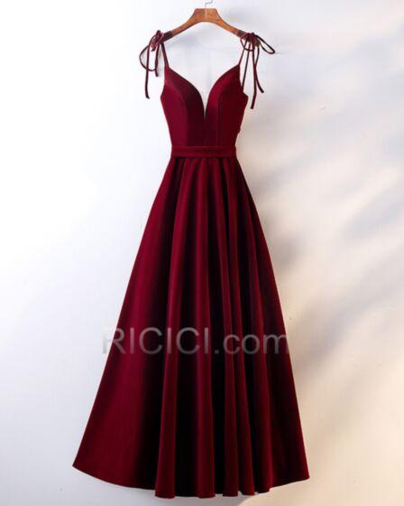 Fit N Flare Schlichte Samt Kleider Hochzeitsgäste Ärmellos Rückenausschnitt Burgunderrot Tiefer Ausschnitt Abendkleider