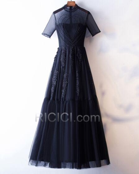 Schönes Abendkleid Lange Marineblau Hochzeitsgäste Kleider Applikationen Hochgeschlossene A Linie Brautmutterkleider Modest