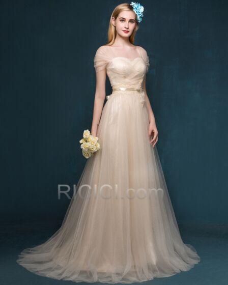 Abendkleider Brautjungfernkleider Rückenausschnitt Lange Tüll Prinzessin Plissee Ballkleider Elegante