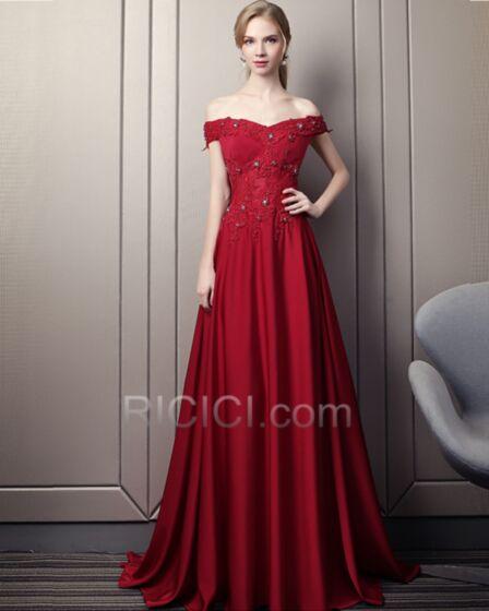 Schulterfreies Applikationen Perlen Abendkleider Ärmellos Chiffon Rückenfreies Elegante